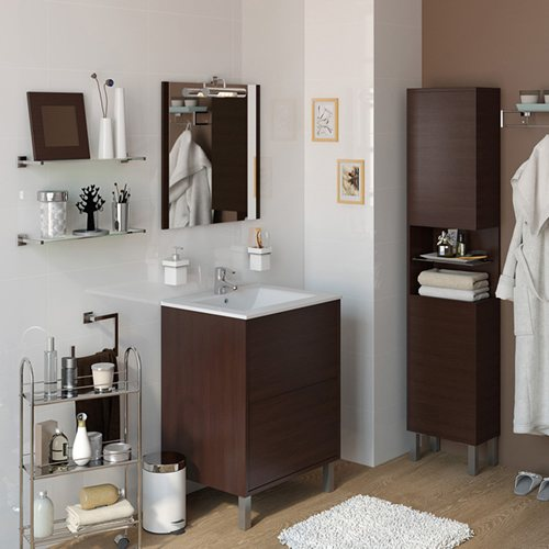 Armario Keter Para Exteriores ~ Móvel com lavatório e espelho DAKOTA WENGUE 60 Leroy Merlin
