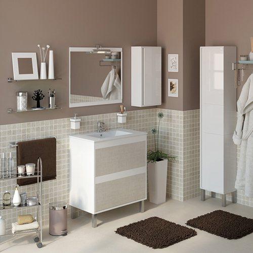 Armario Keter Para Exteriores ~ Móvel com lavatório e espelho DAKOTA BRANCO T u00caXTIL 70 Leroy Me