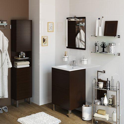 Armario Keter Para Exteriores ~ Móvel com lavatório e espelho DAKOTA WENGUE 50 Leroy Merlin