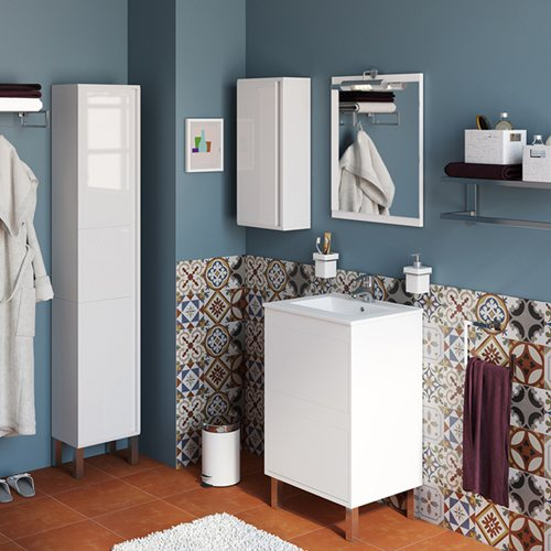 Armario Keter Para Exteriores ~ Móvel com lavatório e espelho DAKOTA BRANCO 50 Leroy Merlin
