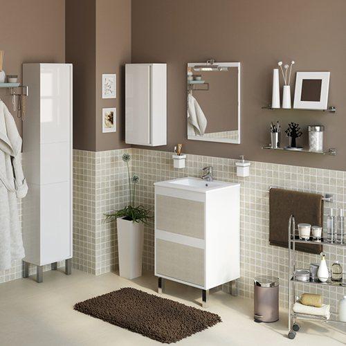 Armario Keter Para Exteriores ~ Móvel com lavatório e espelho DAKOTA BRANCO T u00caXTIL 50 Leroy Merlin
