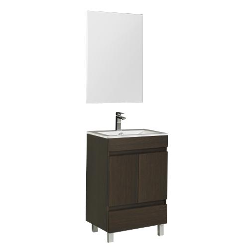 Armario Keter Para Exteriores ~ Móvel com lavatório e espelho SLIM WENGUE 60 Leroy Merlin