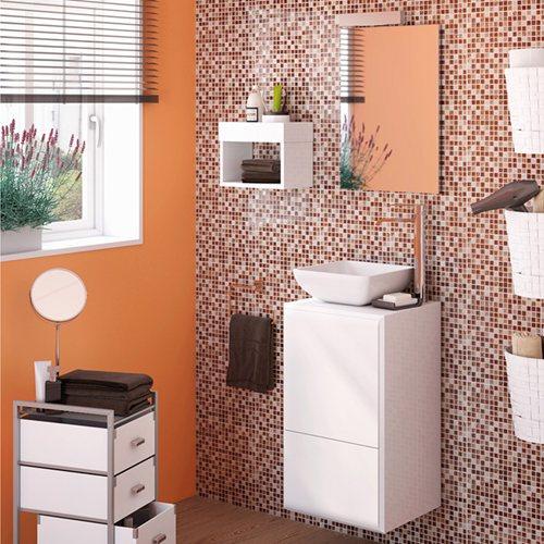 Armario Keter Para Exteriores ~ Móvel com lavatório e espelho BELLADONA BRANCO Leroy Merlin