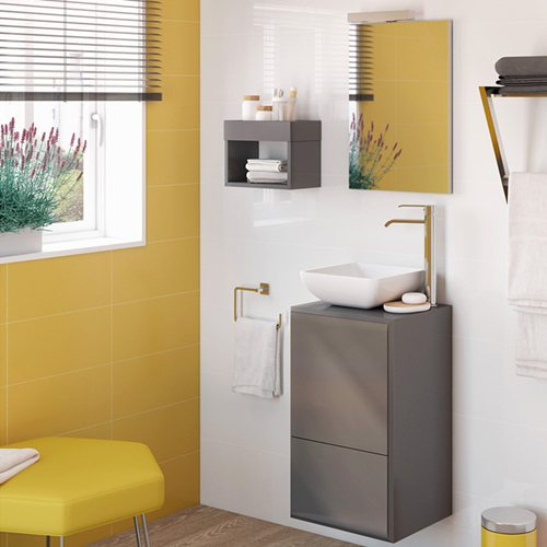 Armario Keter Para Exteriores ~ Móvel com lavatório e espelho BELLADONA CINZA Leroy Merlin