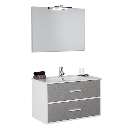 Armario Keter Para Exteriores ~ Móvel com lavatório, espelho e aplique TEX CHOCOLATE CINZA 80 Leroy Merlin