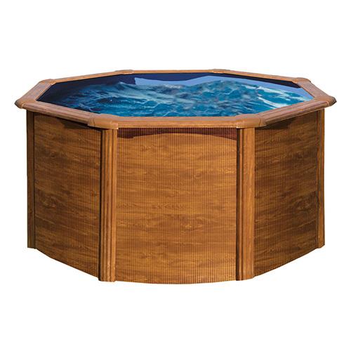 Piscina em a o redonda 240x120cm madeira leroy merlin for Piscina 3x3
